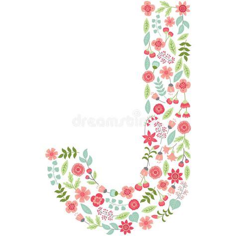 Floral J vector floral letter j vector floral abc floral