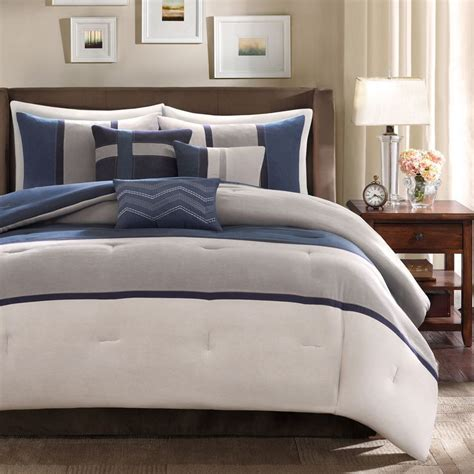 blue gray comforter set ultra soft contempoary 7pc blue grey navy modern stripe
