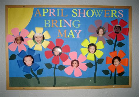 kindergarten themes for april and may april showers bring may flowers bulletin board ideas www