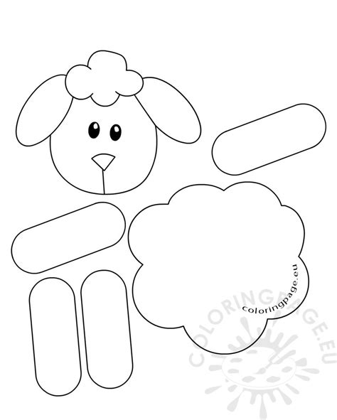 lamb paper craft for preschool coloring page