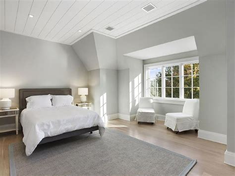 gray ceiling white shiplap bedroom