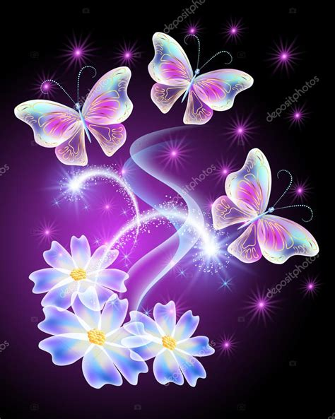 imagenes con movimiento neon neon butterflies with flowers with and stars stock