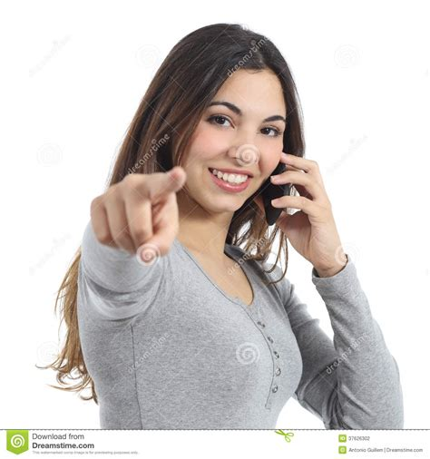 calling on mobile pointing at calling on the mobile phone stock