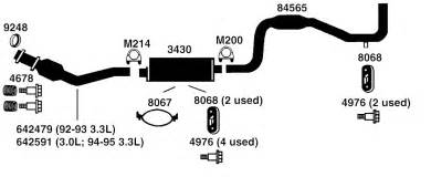 Exhaust System Dodge Caravan Dodge Grand Caravan Exhaust Diagram From Best Value Auto Parts