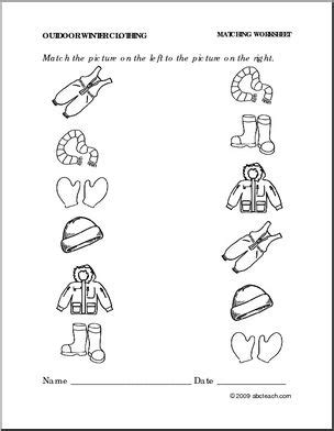 clothes matching worksheets worksheet winter clothing match pictures preschool