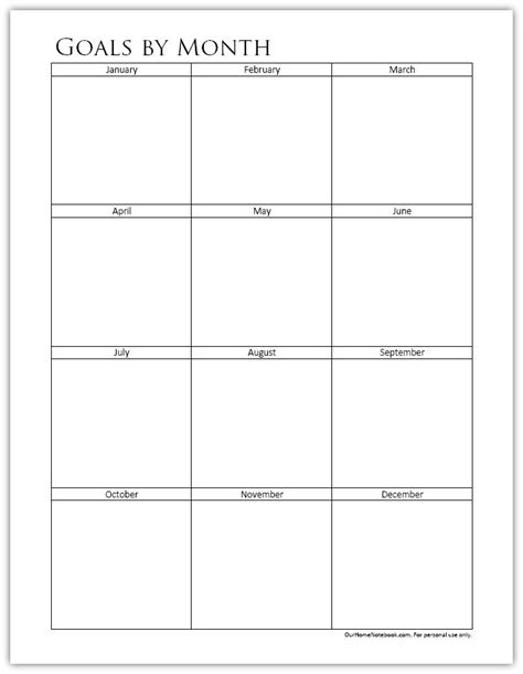monthly goal planner printable goals by month free printable organized planners
