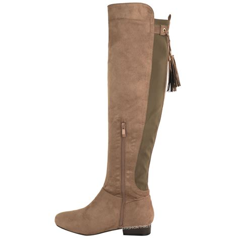 boots for big leg new womens the knee thigh high flat boots