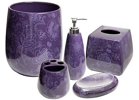 sophisticated purple bathroom accessories