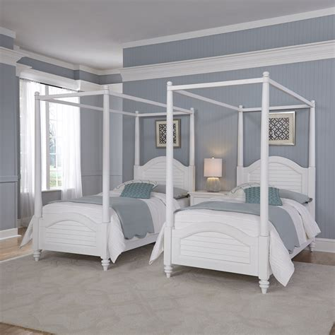 sears canopy bed home styles bermuda white two twin canopy beds and night stand