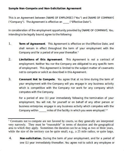 employee non compete agreement template non compete agreement template 9 free sle exle