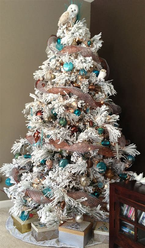 our flocked christmas tree christmas pinterest