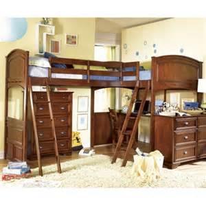 Bunk Bed With Desk On Top Lea Deer Run Bi Loft Extension Bed W Desk Top In Brown Cherry Beyond Stores