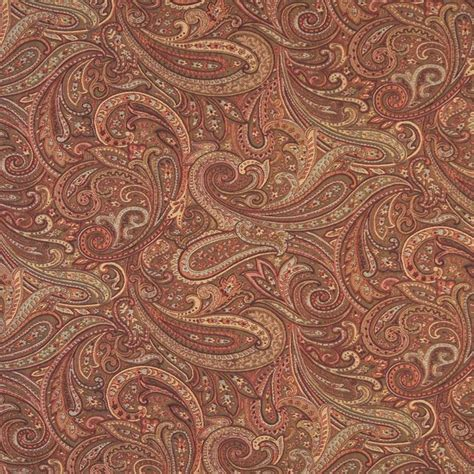 Orange Red And Gold Paisley Contemporary Upholstery Grade