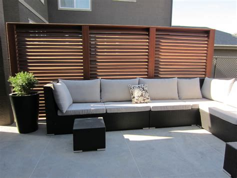 slatted privacy screen panels traditional patio