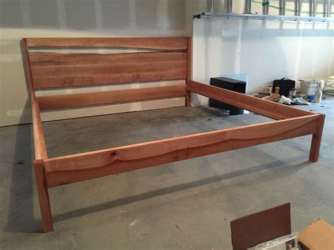 Madrone Bed Frame With Live Edge Jd Woodworks Pdx Mortise And Tenon Bed Frame