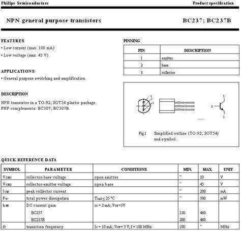 transistor npn bc237 transistor bc237 datasheet 28 images bc237 datasheet equivalent cross reference search