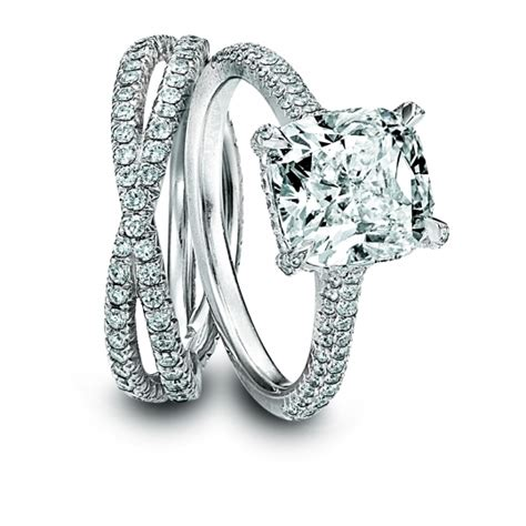platinum cushion cut engagement ring and platinum wedding
