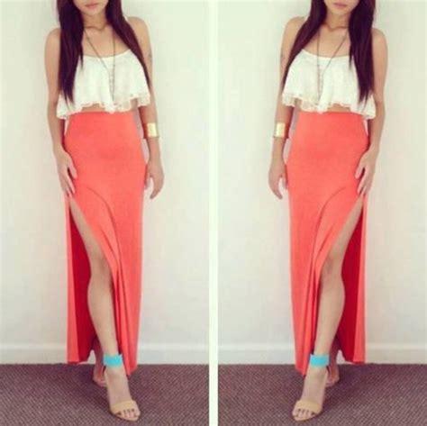 skirt orange maxi skirt high heels tank top