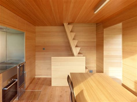 wooden interior small cabin in the swiss alps is cosy family retreat