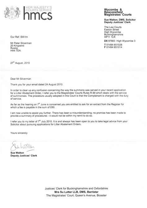 Complaint Letter Uncollected Rubbish From Wycombe Magistrates Court Clean Highways