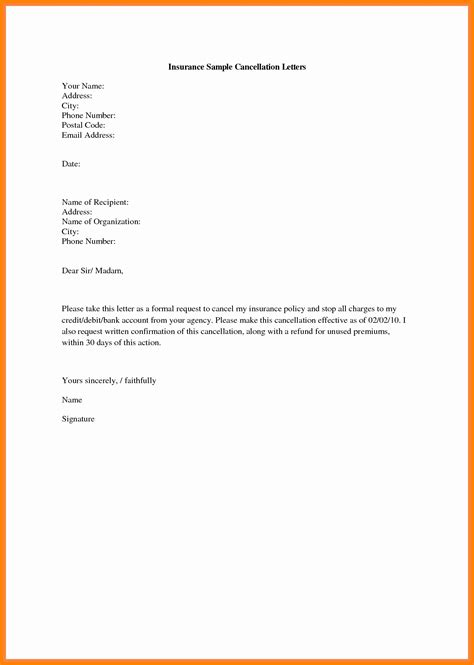 cancellation letter for car loan sle 5 insurance cancellation letter sales slip template