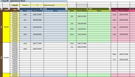 excel spreadsheet template appointment and scheduding spreadsheet templates