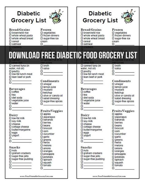 printable diabetic grocery shopping list download free diabetic food grocery list favorite