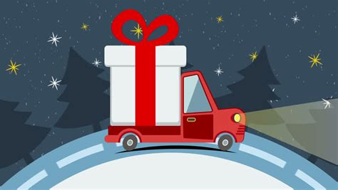 animated santa driving car driving on a suburban road at car rides in the evening landscape flat