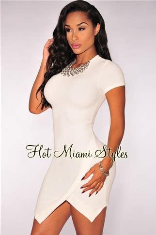 Doff Mini White white textured un even hem dress