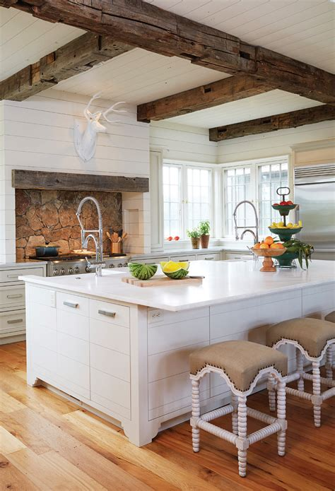 Kitchen Ceilings With Beams by Country Kitchen With Rustic Wood Ceiling Beams Country