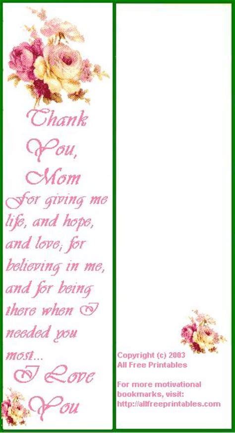 printable bookmarks mother s day 8 best images of blank printable christian bookmarks