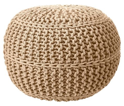 knitted pouffe uk 100 cotton foot stool braided handmade cushion