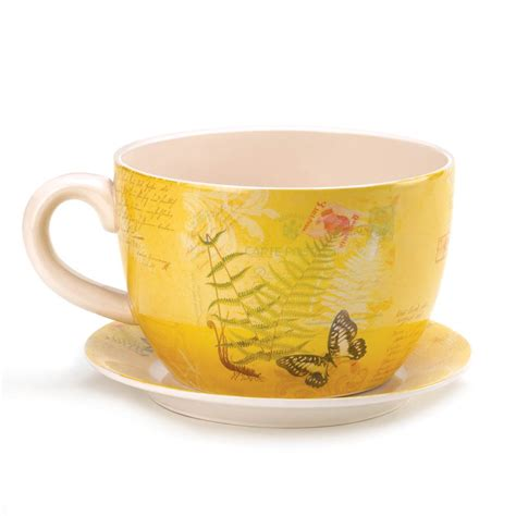 Large Garden Butterfly Teacup Planter Flower And 13 Large Teacup Planter