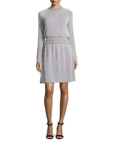 Isabelle Seleve burch isabelle sleeve metallic fit flare dress