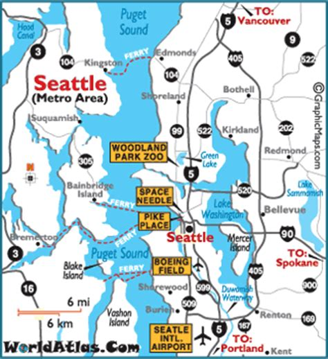 seattle map with attractions photos of seattle washington seattle map and photos