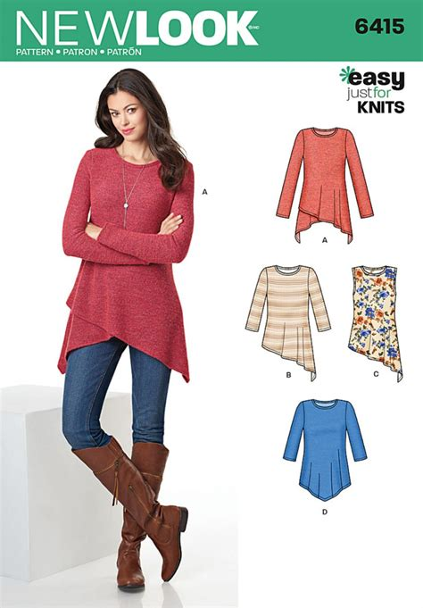 pattern from image online new look pattern 6415 knit tunics sewing patterns online