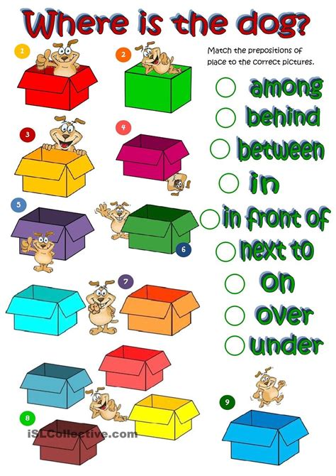 esl printable worksheets prepositions of place where s the dog prepositions of place worksheet free
