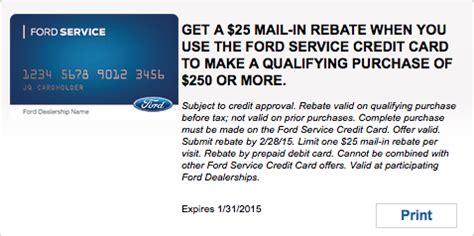 ford service rebate get a 25 mail in rebate when you use the ford service