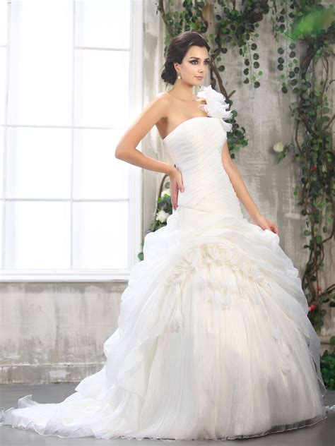 organza one shoulder ball gown wedding dress with