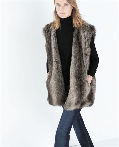 nwt zara fur vest fit vest coat jacket gray size m one size ebay