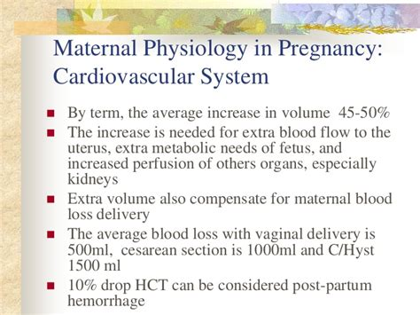 normal blood loss during c section maternal physiology in pregnancy