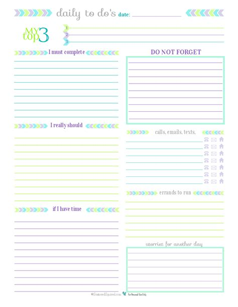 printable weekly planner with to do list 7 best images of printable daily to do list for work