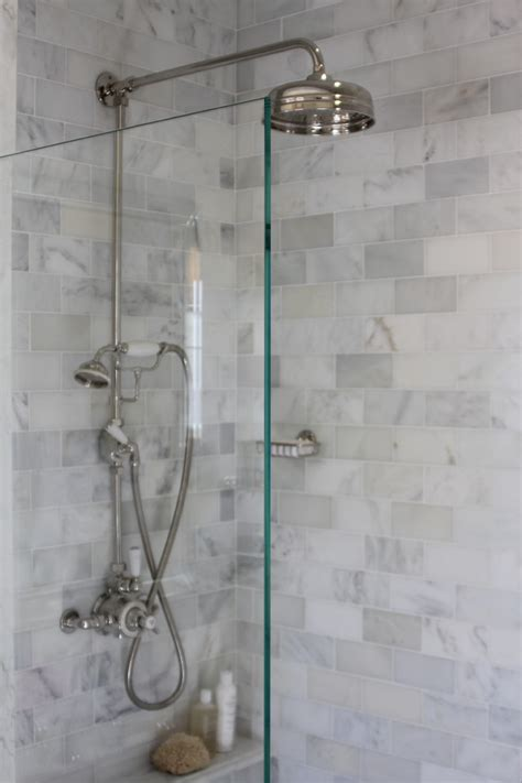 subway tile in bathroom shower marble subway tile shower offering the sense of elegance homesfeed