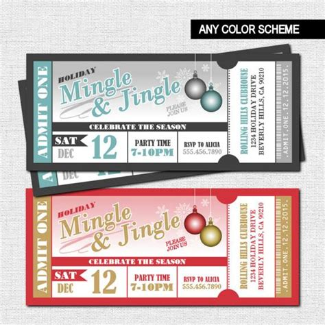 christmas party ticket template ticket invitations mingle and jingle