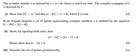 tutorial questions on complex numbers locus of a complex number in the form z a k z b