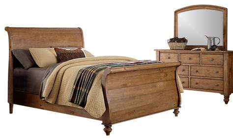 bedroom set with solid spruce pine wood and vintage light