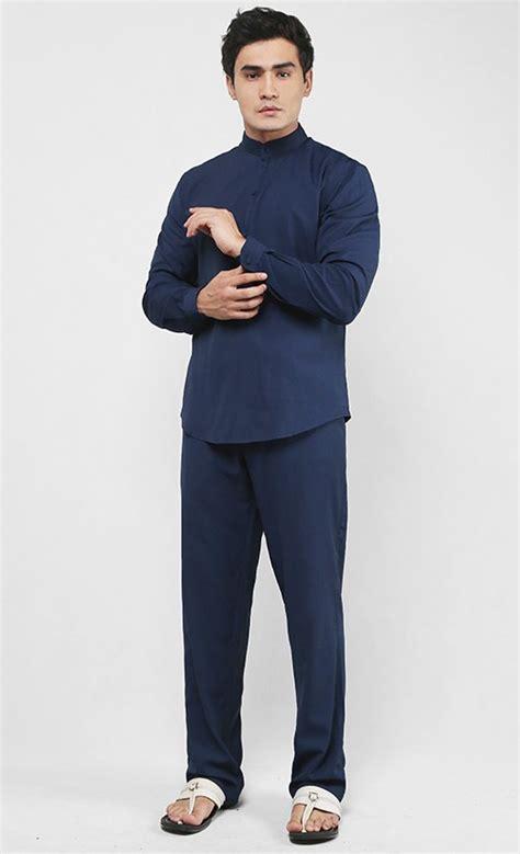 Baju Melayu Slim Fit Navy Blue baju melayu set in navy blue shopperboard