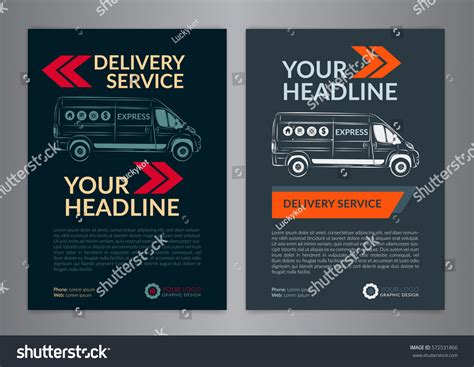 delivery flyer template set a4 express delivery service brochure stock vector