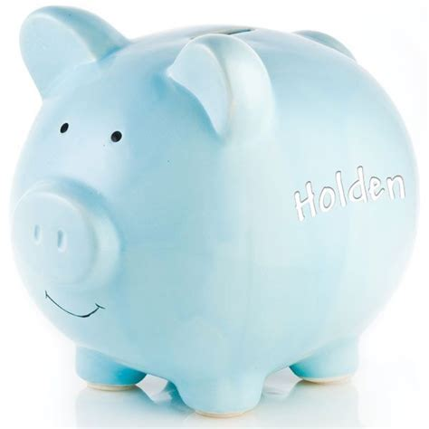 Personalized Blue Ceramic Piggy Bank