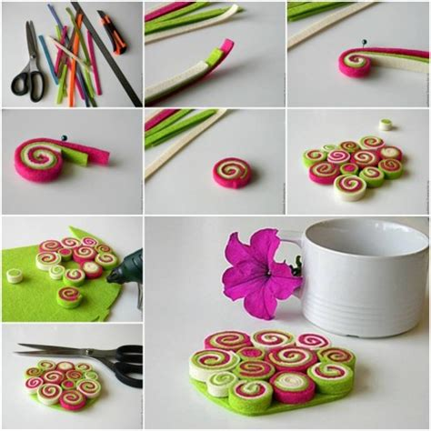 diy crafts tutorial how to make felt coaster step by step diy tutorial